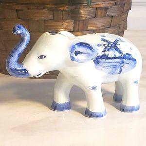 Vintage Hand Painted Delft Elephant